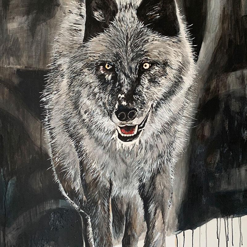 Das Bild zeigt ein Acryl Gemälde der Aachener Künstlerin Brigitte Schroeder. Auf dem Bild ist der Wolf zu sehen. Die Farben sind dezent, der Pinselstrich frech.