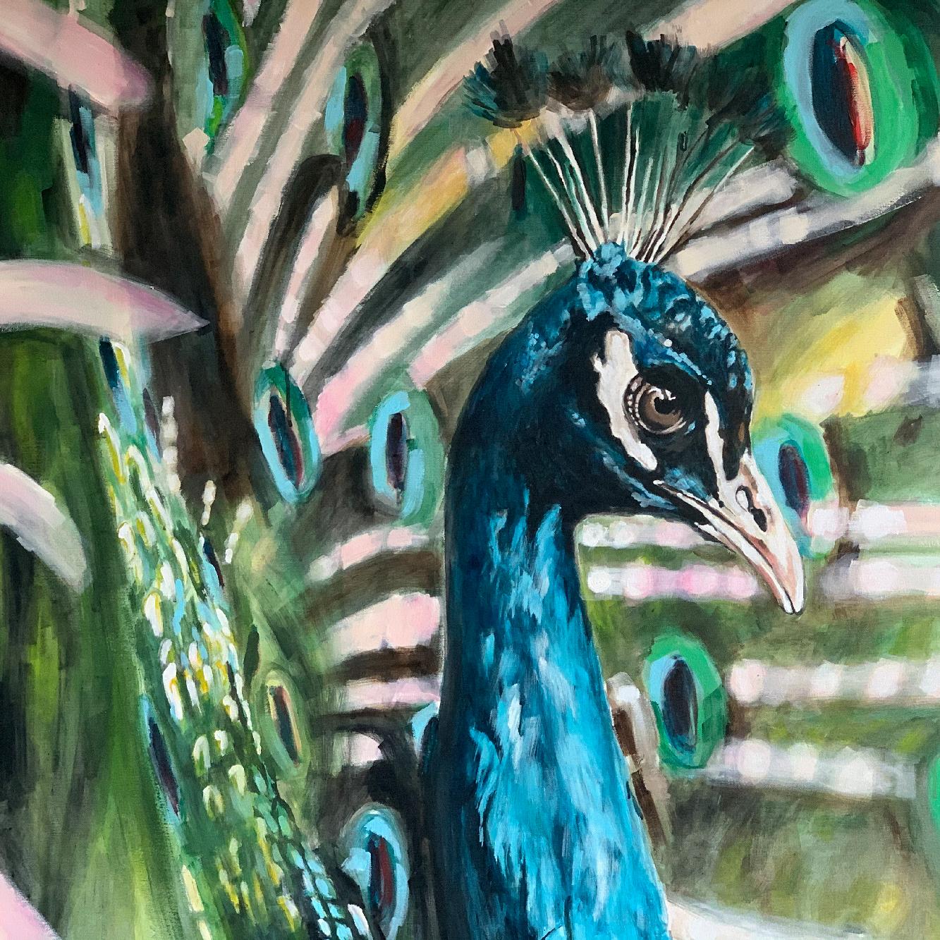 Das Bild zeigt ein Gemälde von der Künstlerin Brigitte Schroeder. Das Kunstwerk zeigt einen Pfau in grünen und blauen Farben.