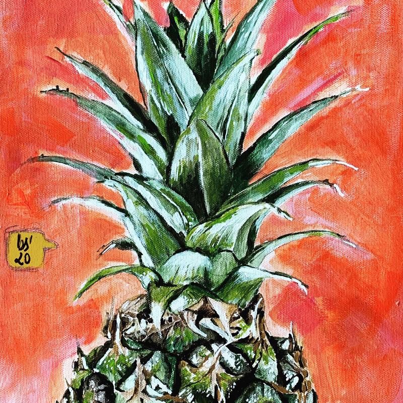 Das Kunstwerk zeigt ein Ausschnitt einer Ananas mit einem orangenem Hintergrund.