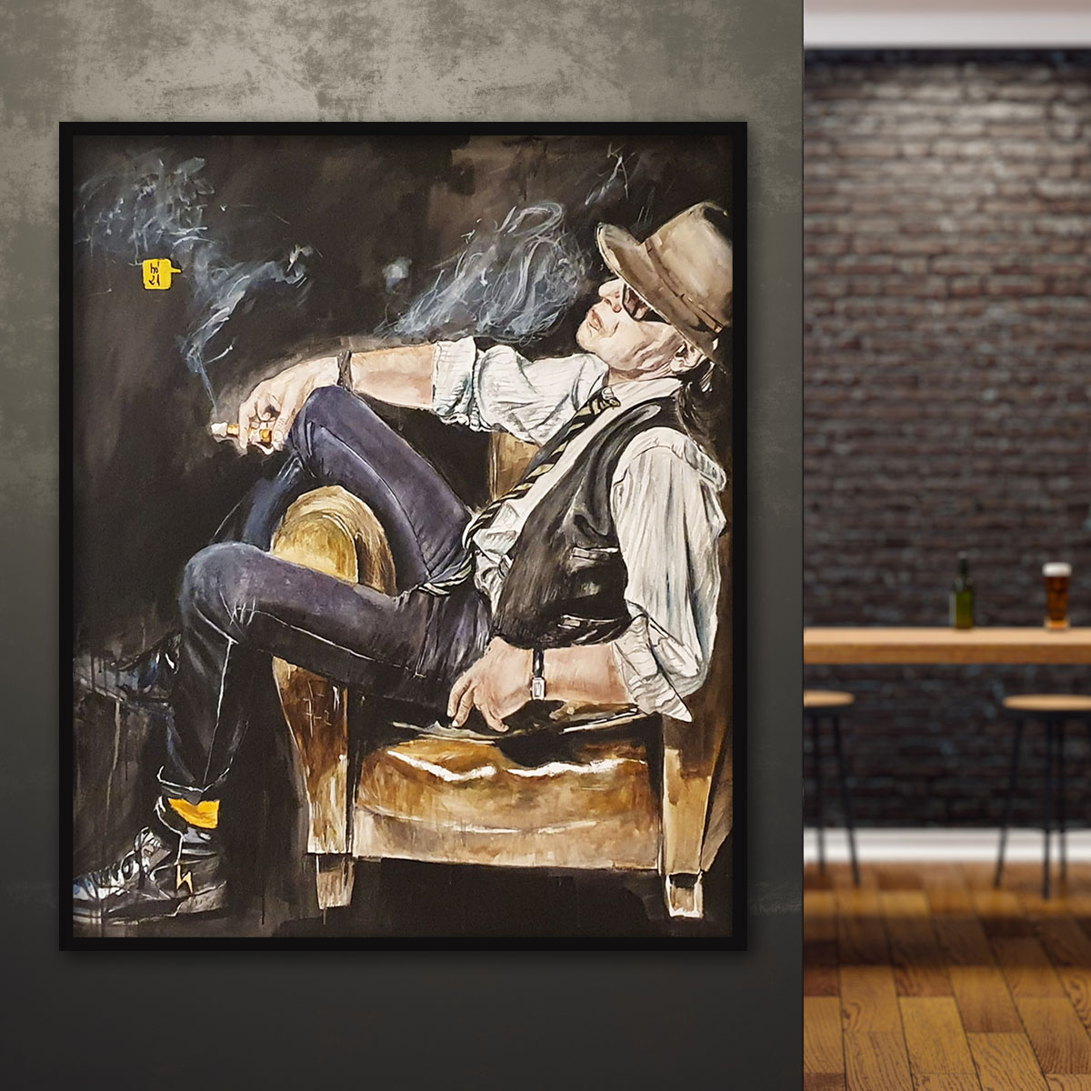 Das Kunstwerk ist in Acrylfarben gemalt. Das Gemälde zeigt Udo Lindenberg sitzend auf einem Sessel und rauchend einer Zigarette.