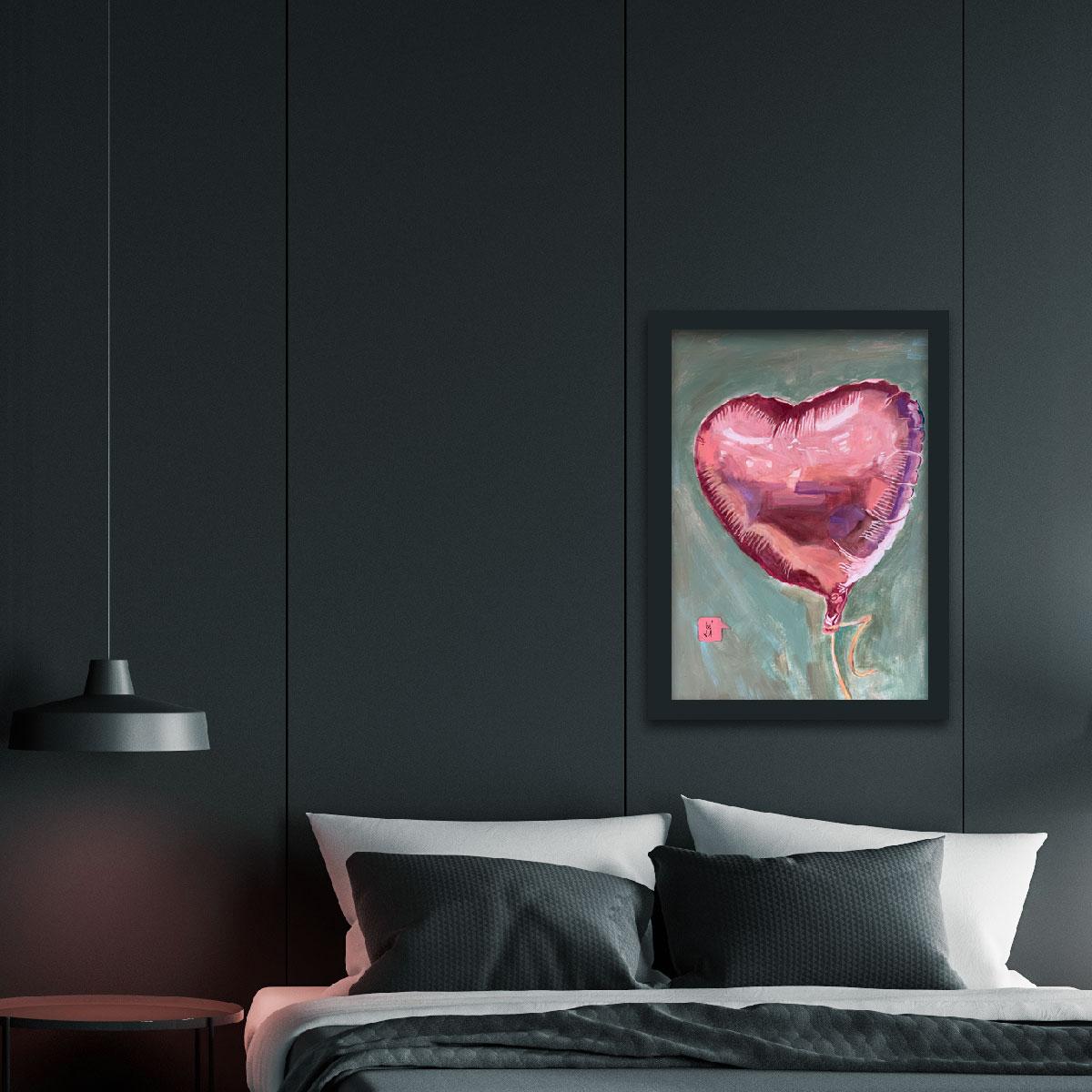 Rosa Luftballon In Herzform